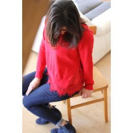 Pull Sonia rouge dentelle The LELI