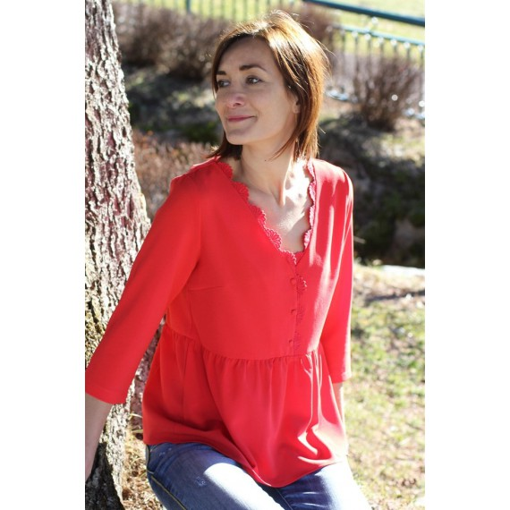Blouse Mia corail volants The LELI