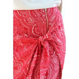 Jupe Héloïse courte imprimé bandana rouge The LELI