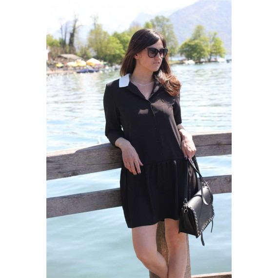 Robe Ninon noire basques The LELI