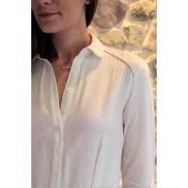 Robe courte blanche manches longues ajustables Ebenne - The LELI - Orfeo - Printemps été 2017