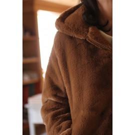 Manteau Prince fourrure camel - leli concept store