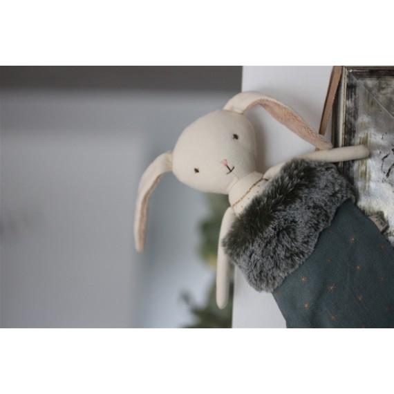 Doudou Ange Lapin dans sa chaussette de Noël bleue  Maileg Leli concept store