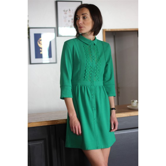 Robe GERALDINE verte - The LELI
