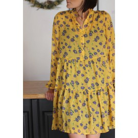 Robe VILAMALA jaune fleurs vila - The LELI