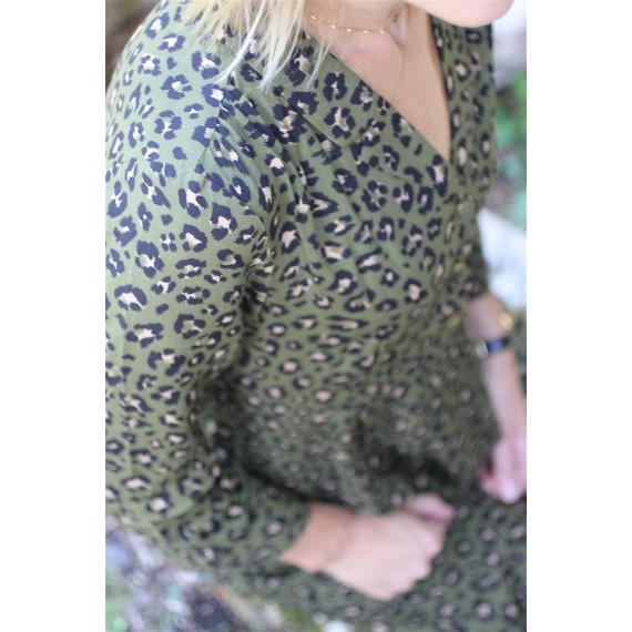 Robe Giulia kaki imprimé léopard Vila leli concept store