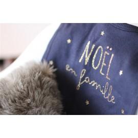 Bavoir Noël en Famille Bleu Suite Créative leli