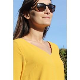 Top blouse safran Nora col V manches 3/4 décolleté dos - The LELI - Orfeo - Printemps été2017