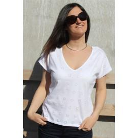 Tee-shirt Cactus blanc manches courtes - La Petite Française -The LELI printemps été 2017