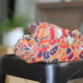 Foulard Namira beige rouge orange - Pieces - leli concept store