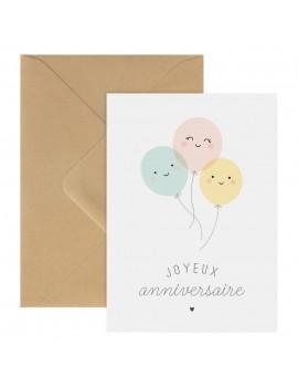 Carte Double Joyeux Anniversaire Ballons - Zü