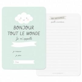 Carte Naissance Bonjour Bleue - Zü