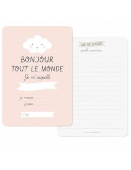 Carte Naissance Bonjour Rose - Zü