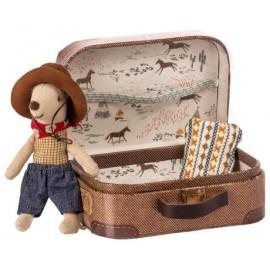 Cowboy dans une valise souris petit frère - Maileg