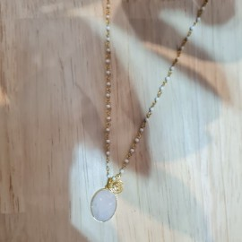 Sautoir Inde pendentif blanc - Une à une  - leli concept store