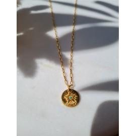 Collier Star médaille turquoise -  Une à une - leli concept store