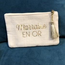 Pochette marraine en or - mila and stories