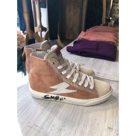 Baskets Goïa velours rose - Semerdjian